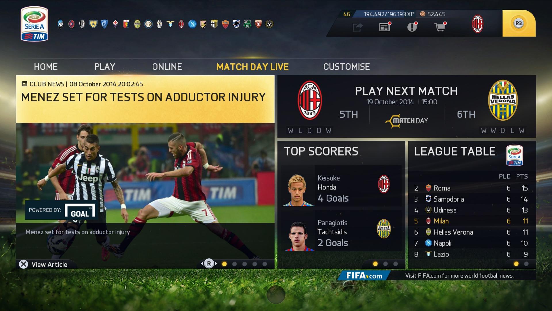 FIFA 15 (In Menus)