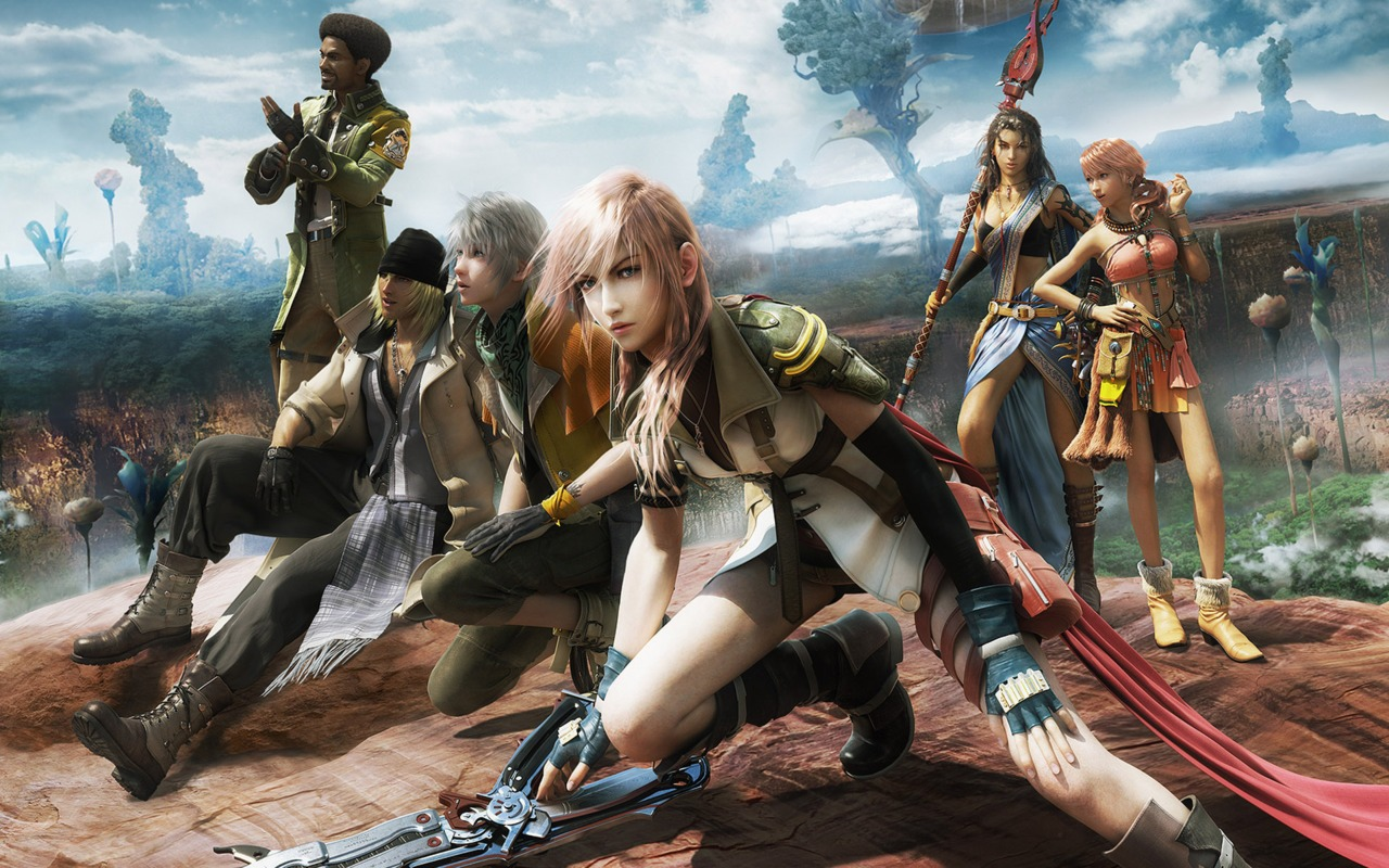Playable likovi (s leva na desno): Sazh Katzroy, Snow Villiers, Hope Estheim, Lightning, Oerba Yun Fang, i Oerba Dia Vanille